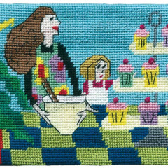 Domestic Goddess in Training Needlepoint Postcard