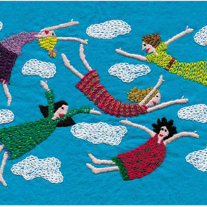 Floating Around In Frocks Embroidery on Felt