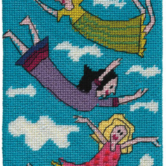 Floating Around In Frocks Needlepoint Postcard