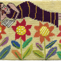 Flower Bed Needlepoint Postcard
