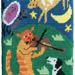 Hey Diddle Diddle Needlepoint Postcard