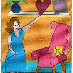 Home is Where the heart is Needlepoint Postcard