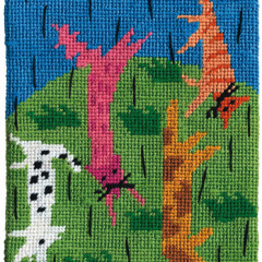 Raining Cats And Dogs Needlepoint Postcard