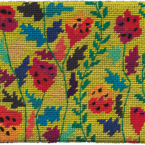 Tall Poppies Needlepoint Postcard