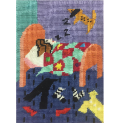 Dog Tired Needlepoint Postcard by Jennifer Pudney